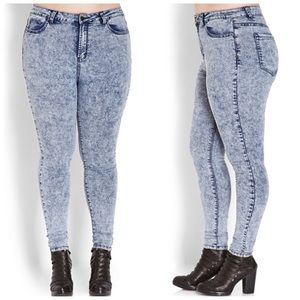 Forever21+ High Waisted Acid Wash Jeans